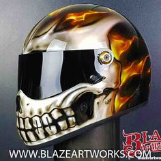 Skull Crash Helmets for Motorcycles - Blaze Artworks Icon Motorcycle Helmets, Dirt Bike Helmets, Custom Paint Motorcycle, Custom Motorcycle Helmets, Custom Helmets, Custom Motorcycles, Helmets For Motorcycles, Girl Motorcycle, Custom Choppers