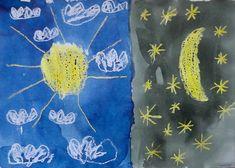 DEN A NOC - zachytit na jednom snímku kontrast mezi dnem a nocí (kresba voskovkami, malba anilinovými barvami)
