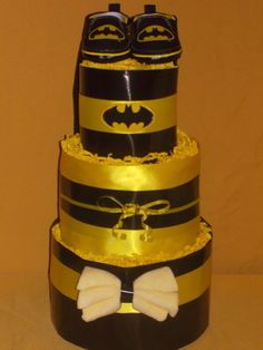 Batman Baby Boy Diaper Cake - 40 Diapers / Bodysuit / Shoes Baby Shower Gift or Centerpiece