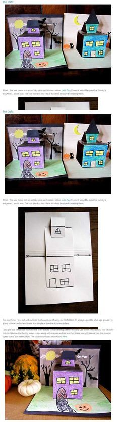 pop-up houses. For Halloween or Mapping Unit. Or arrays. Or to accompany a writing piece. Halloween Art Projects, Fall Art Projects, Projects For Kids, Fall Crafts, Holiday Crafts, Crafts For Kids, Art Plastique Halloween, Arte Elemental, 4th Grade Art