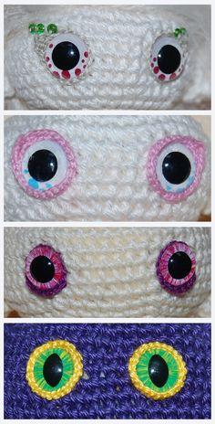 how to amigurumi eyes. Crochet Patron, Lalylala, Crochet Baby, Crochet Eyes, Crochet For Kids, Crochet Dolls, Diy Crochet, Crochet Crafts, Crochet Projects