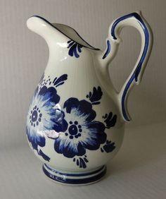 Vintage Blue Delft Pottery Pitcher Flowers Holland | eBay