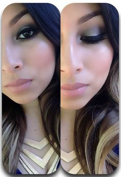 Grey smokey eye + nude lips,  Looks great on dark eyes, which is hard for this brown eyed girl. J-