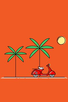 Orange Scooter ★ Find more minimalistic Android + iPhone wallpapers @prettywallpaper