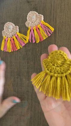 Crochet Bag Tutorials, Crochet Jewelry Patterns, Crochet Earrings Pattern, Crochet Stitches For Beginners, Crochet Basket Pattern, Macrame Patterns, Crochet Accessories, Crochet Designs, Crochet Cord