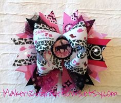 Over the Top Bow - Cowgirl Bow - Shh I'm Huntin Cowboys - Rhinestone Cowgirl - Boots and Rhinestones - Horse Riding - Funky Boutique Bow on Etsy, $12.00
