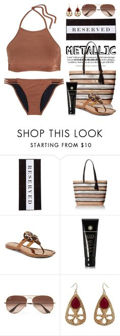 """""""You're Golden: Metallic Swimwear 3861"""" by boxthoughts ❤ liked on Polyvore featuring Chance, Loeffler Randall, Tory Burch, Soleil Toujours, Ray-Ban, Erica Lyons, Melissa Odabash and metalicswimwear"""