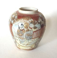SOLD! Small-Satsuma-Style-Vase-Children-Motif-Hand-Painted-With-Gilding-Moriage