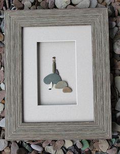 lighthouse, pebble art
