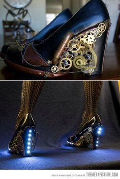 Steampunk Heels. Ooooh!!! I would gladly wear those things, even though the heels are a good 2 inches higher than I feel safe perched upon.