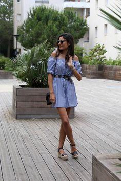 blog mode robe chemise épaules dénudées rayures zara