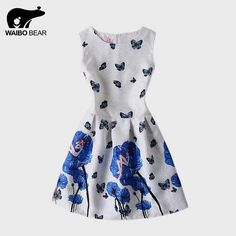 European Style Butterfly Print O-Neck Party Dresses Fashion Summer Beach Vestidos Casual Ball Gown Dress Great, huh? www.lady-fashion.... #shop #beauty #Woman's fashion #Products
