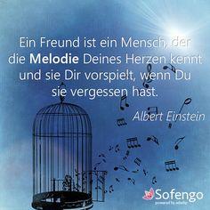 Ein Freund ist ein Mensch, der die Melodie Deines Herzen kennt und sie Dir vorspielt, wenn Du sie vergessen hast. - Albert Einstein