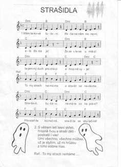 strašidla Music Do, Halloween, Teaching Music, Kids Songs, School Classroom, Music Notes, Sheet Music, Ukulele, Children