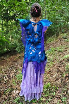 RESERVED for Sarah  Felt Fairy Wing Leaf Dress OOAK by frixiegirl, $320.00