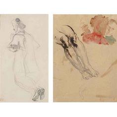 Eugène Delacroix, ETUDE POUR LE CARDINAL RICHELIEU DISAINT LA MESSE: PRÊTRE AGENOUILLÉ; STUDY FOR LEGS AND HEAD
