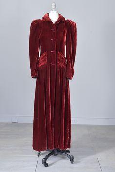 1930s 40s Merlot Velvet Maxi Vintage Evening Dress Coat from VintageVirtuosa