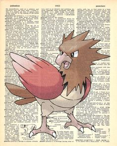 Spearow Pokemon Dictionary Art Print by MollyMuffinsPrints on Etsy
