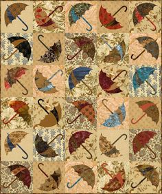 """Laundry Basket Quilts - Edyta Sitar   Using """"Dancing in the Rain – Layer Cake"""" squares Edyta created this """"Dancing Umbrella"""" quilt"""