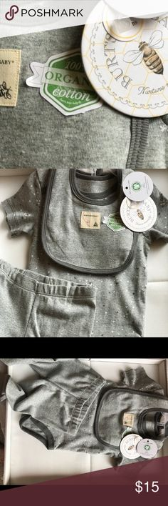 BURT's BEES BABY set Burt's Bees Baby 3 Piece Bodysuit, Pants & Bib Set  ~ Organic Cotton  ~ Bodysuit is Light gray with Gray Bee Print . Pants are Solid Gray with Burt's Bee Patch on the Back. Bib is Solid Gray with Gray Trim.  The item you are purchasing is New with tags.  Let me know if you have any questions regarding this product and I'll be happy to help as best as I can. I will ship within 24 hours of cleared payment. Burt's Bees Baby Matching Sets