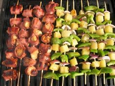 Chicken and Bacon Shish Kabobs- delicious served with grilled pineapple, onion, and green pepper!