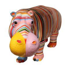 Hippopotame rayures multicolores (grandeur nature) - 2047