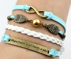 Bronze infinity charm & owl where there is a will there is a way of blue cotton rope white leather woven fashion bracelet charm -Q203by luckystargift, $4.29