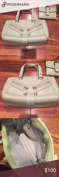 "Cole Haan Mint Green Handbag & Wallet Like new Coke Haan mint green Handbag and wallet set! Super cute! Handbag measures 10"" x 7"" and is super cute! This set I paid over $300 for!! Check out my closet too Cole Haan Bags Shoulder Bags"