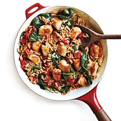 Chicken and Orzo Skillet Dinner | MyRecipes.com  @Bernadette Folwarczny Waters approved!