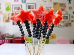 Cute snack idea for kids. Magical Fruits Wands for Your Fourth of July Celebration on Weelicious 4th Of July Party, Fourth Of July, Toddler Meals, Kids Meals, Toddler Recipes, Toddler Food, Summer Recipes, Holiday Recipes, Family Recipes
