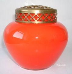 Bright orange Bohemian style rose bowl