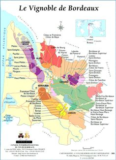 "les appellations du vignoble bordelais -  #vinyeyards terroirs map (""A.O.C.) around #Bordeaux"