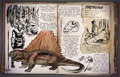 Ark: Dimetrodon Dossier (not in game yet) Game Ark Survival Evolved, Cool Dinosaurs, Survival Books, Survival Videos, Spinosaurus, Dinosaur Art, Prehistoric Creatures, T Rex, Fantasy Creatures