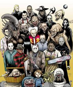 Idea for the sleeve that I plan on getting in the near future. It will be horror movie characters consisting of: Michael Myers, Jason Voorhees, Freddy Krueger, Captain Spaulding, and Chuckie. Arte Horror, Horror Art, Horror Cartoon, Horror Movie Characters, Horror Movies, Horror Villains, Evil Dead, Horror Icons, Horror Show