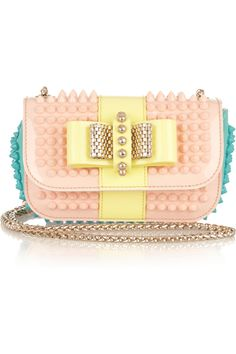 Christian Louboutin|Sweet Charity studded patent-leather shoulder bag|NET-A-PORTER.COM