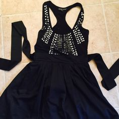 LBD Very cute, chic and sexy black dress with detailed chest. Comes with own belt, tulle liner and racer back. Worn once, no missing pieces, no flaws. Rampage Dresses Mini