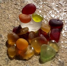 My sea glass collection.  Reds, oranges, and yellows.