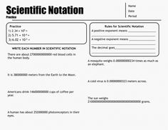 Critical thinking for scientific notation and a worksheet - Write down a non-zero digit. Follow it with a decimal point, and 2-4 more digits.  Is the number greater than 10? Less than one?  Could it be? Give an example, or explain why it's impossible.