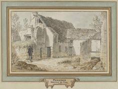 Pátio normando perto de Caen. 1799. Caneta e tinta e aquarela marrom. Atribuído a Alexis Nicolas Pérignon, o Velho (Nancy, França, 1726 - 1782, Paris, França). Encontra-se no Museu Magnin em Dijon, França.