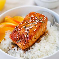 Honey Sriracha Salmon *Use half the amt of soy sauce and 1 1/2 times the amount of honey and sriracha*