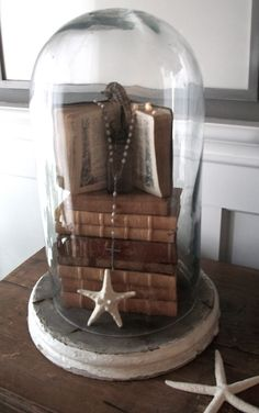 special books under cloche  (idea for old school books or our old family photo album w/padded fabric cover)