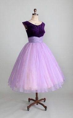 Vintage 1950s Purple Velvet and Chiffon