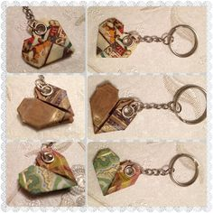 Origami Paper Heart keyrings by SLHJewellery on Etsy, £5.00