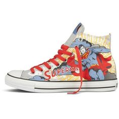 a3ac7aa95bf1 Converse All Star Hi Superman Shoes Cloud Grey Aspen Blue ❤ liked on  Polyvore Superman Shoes