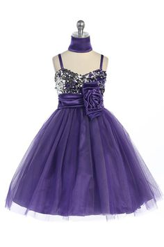 Purple Sparkly Sequined Sweetheart Tulle Overlayed Girl Dress G3300-PP