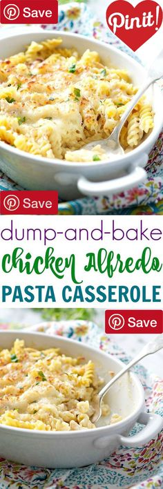 DIY DIY Dump and Bake Chicken Alfredo Pasta Casserole - Ingredients Meat 2 cups Rotisserie chicken Produce 2 tsp Garlic Canned Goods 3 cups Chicken stock Condiments 1 (22 ounce) jar Alfredo sauce Pasta & Grains 1 (16 ounce) package Rotini pasta Dairy 2 cups Mozzarella @ICookUEat