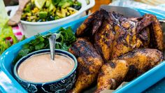 Middle Eastern Spiced Spatchcocked Chicken with Harissa Yogurt