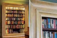 A framed bookshelf. Big and vintage. The cool thing with this one is that it looks like a door. A fake hidden door. Would be cool if it was a door though. #framed #bookshelf #big #vintage #style #design #decor #interior #books #reading