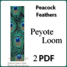 Peacock  Feathers Peyote and Loom Pattern Beading - Tutorial PDF - instant download