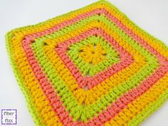 The Tropical Punch Dishcloth is fun, bright, and the perfect accessory for a summertime kitchen.  Makes a festive and super easy cro...